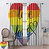 Wild One Curtain Orgullo Blackout Cortina LGBT Gay Lesbian Parade Love Valentines Inspiring Hand Writing Paint Strokes Artistic 2 Panel Sets